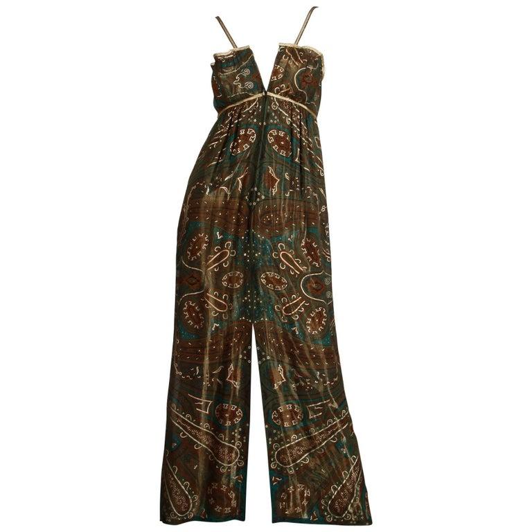 Gorgeous 1970s Pauline Trigere Vintage Metallic Gold Lamé Paisley Silk Dress