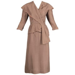 1940s Vintage Asymmetric Beige Silk 2-Piece Jacket + Skirt Women's Suit Ensemble