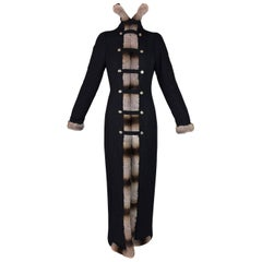 F/W 1999 Gianfranco Ferre Runway Princess Long Black Coat Dress w Chinchilla Fur