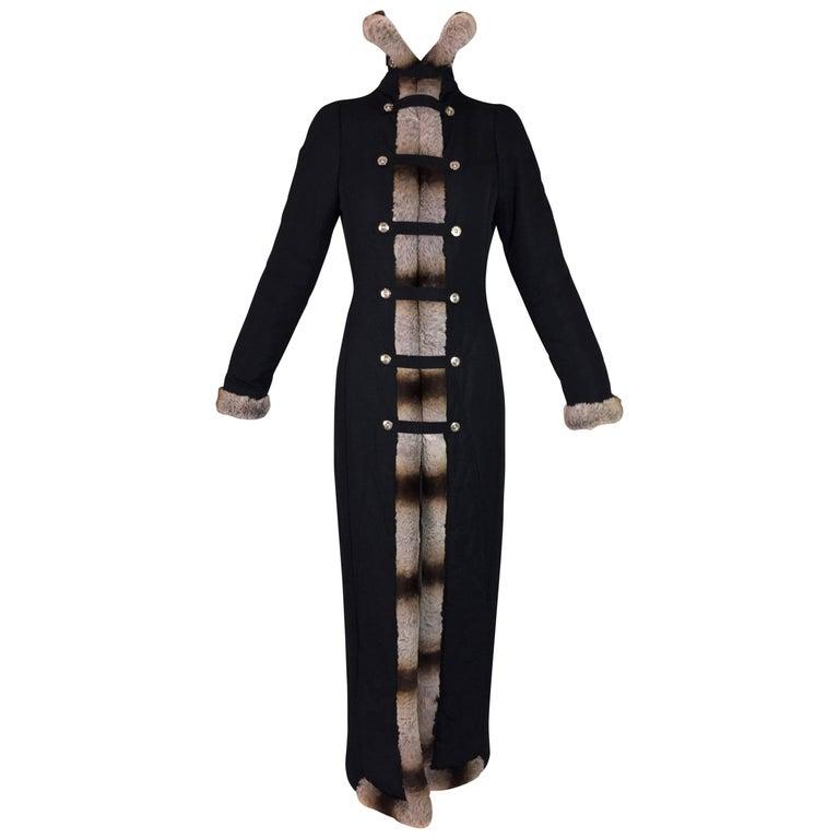 F/W 1999 Gianfranco Ferre Runway Princess Long Black Coat Dress w Chinchilla Fur