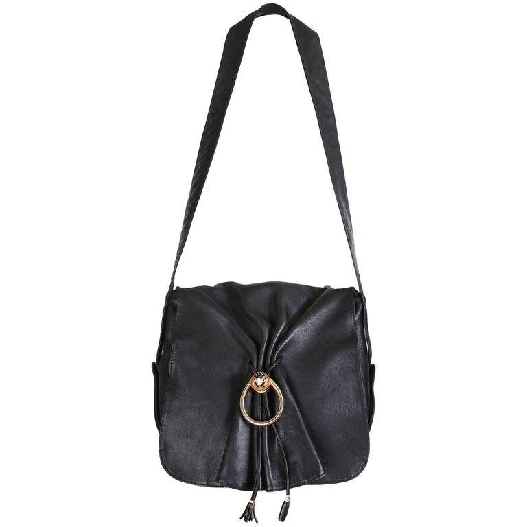 Vintage Gucci Black Leather Bag w/Flap Closure & Enamel Tiger Head Door Knocker