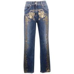 Roberto Cavalli Washed Blue Metallic Gold Floral Print Denim Jeans