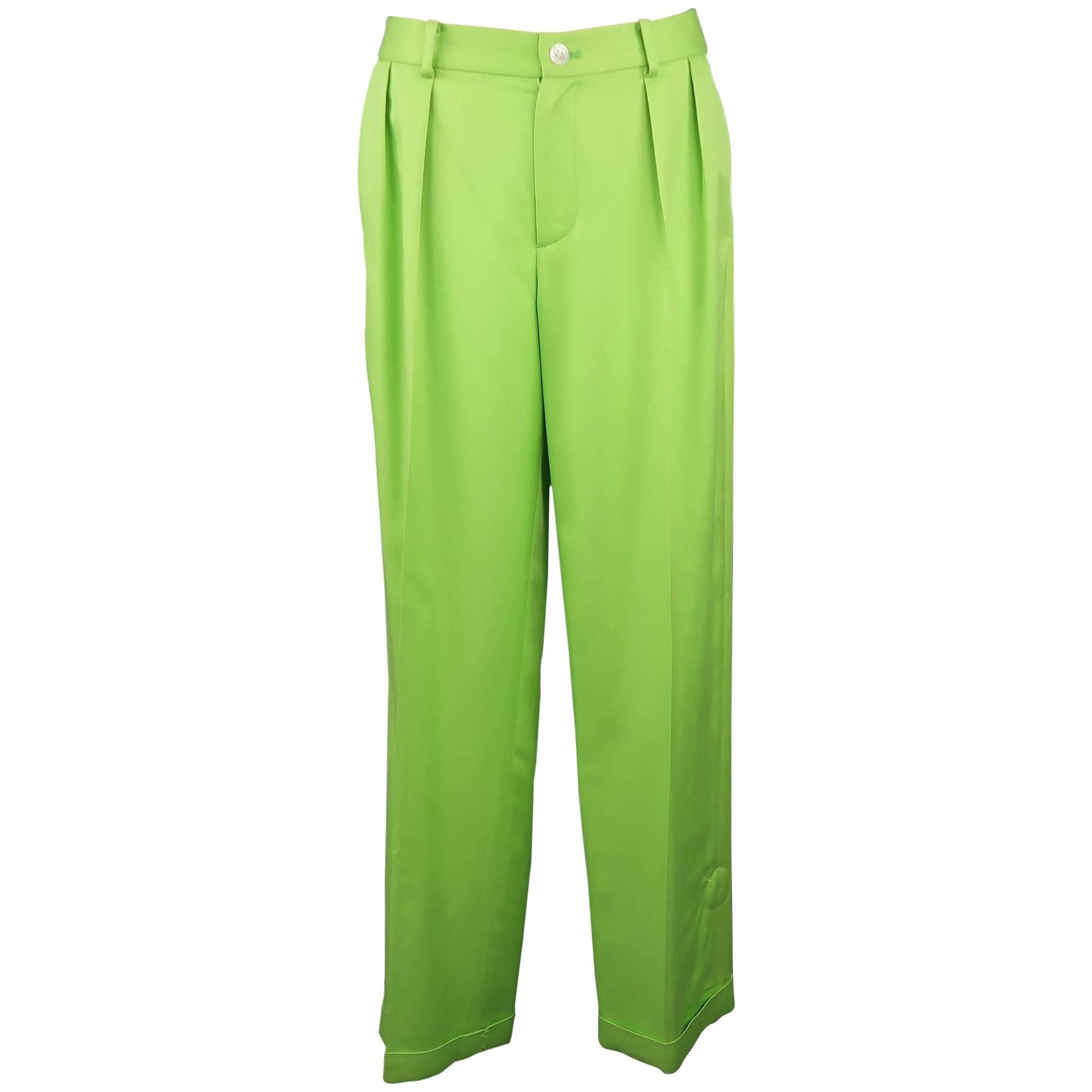RALPH LAUREN Collection Size 6 Green Silk Twill Pleated Wide Leg Dress Pants