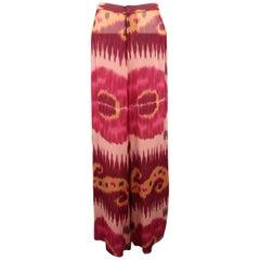 RALPH LAUREN Size 8 Pink & Burgundy Ikate Print Silk Chiffon Wide Leg Pants