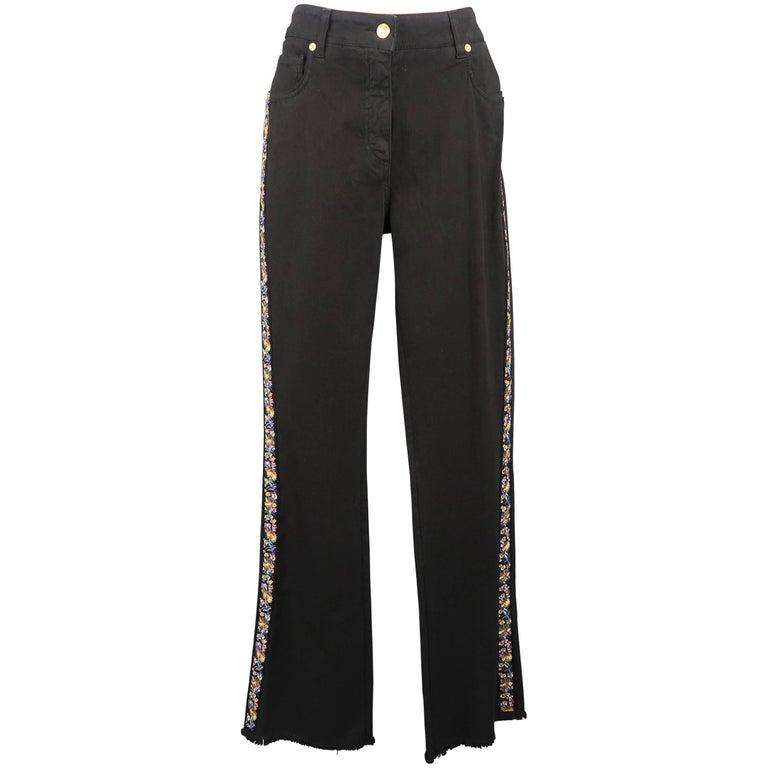 ETRO Size 29 Black Stretch Cotton Floral Trim Boot Cut Jeans