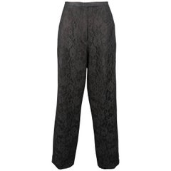 RICHARD TYLER COUTURE Size 10 Black Lace Overlay Pinstripe Dress Pants