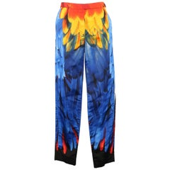 PRADA Pants - Spring 2005 Runway - Blue Red, Yellow Parrot Feather Silk Faille