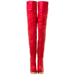 Chanel Red Thigh High Leather CC Logo Intarsia Wedge High Heeled Boots