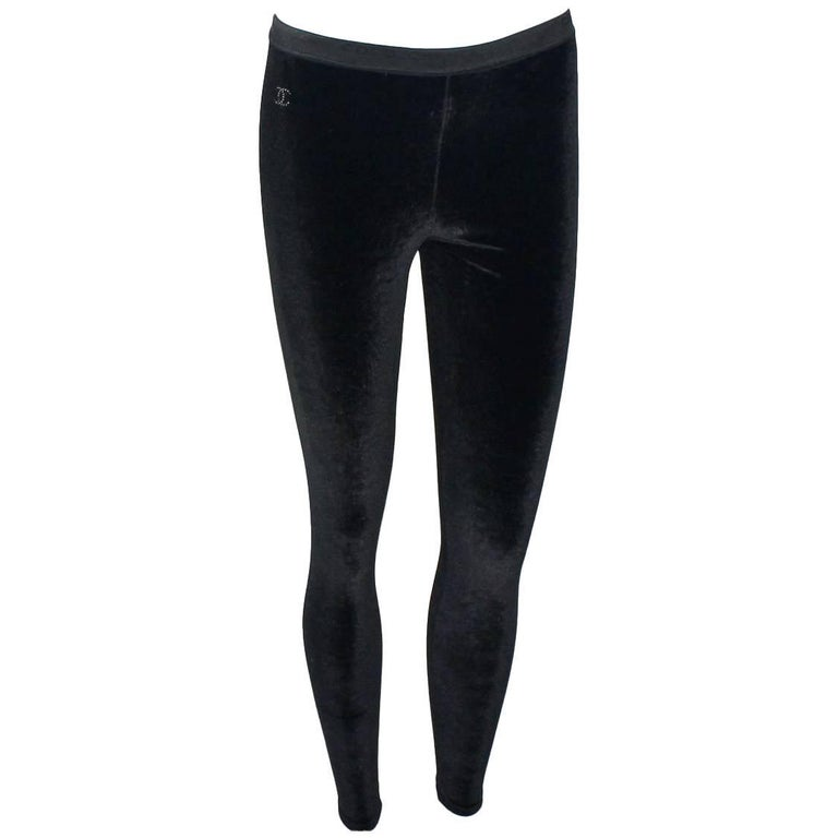 666f609ed1f4a Chanel Black Velvet Crystal Logo CC Leggings Pants with Coco Chanel  Waistband For Sale