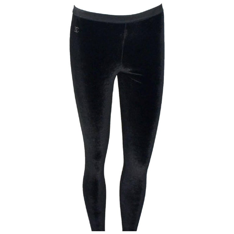 Chanel Black Velvet Crystal Logo CC Footed Leggings Pants with Coco Chanel