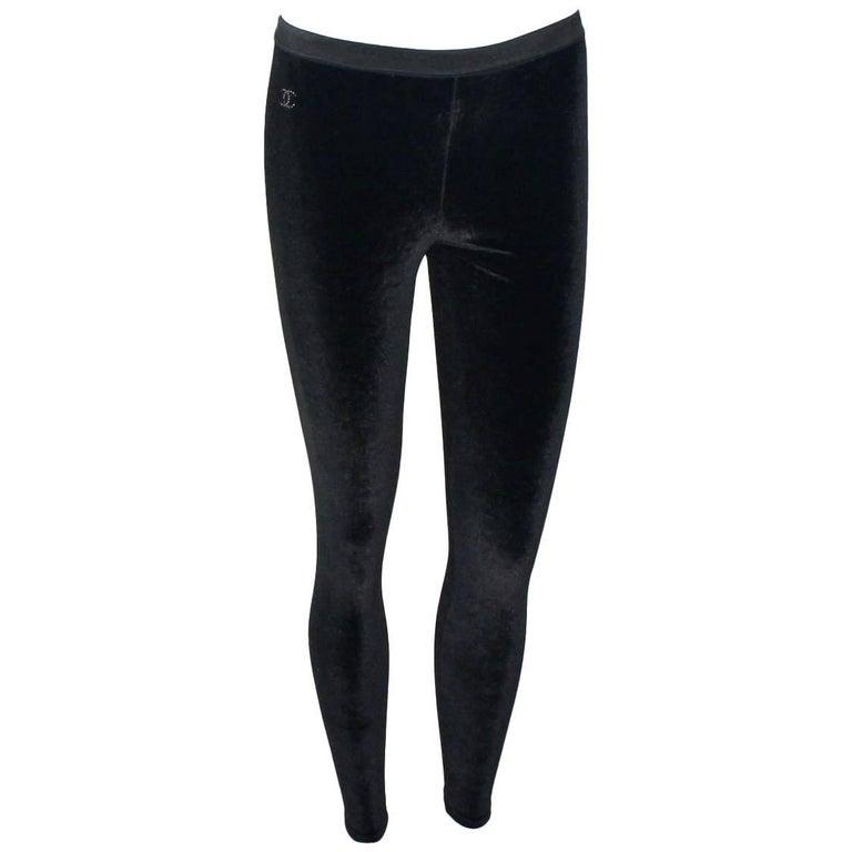 Chanel Black Velvet Crystal Logo CC Leggings Pants with Coco Chanel Waistband