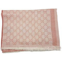 Gucci Guccissima Écharpe GG Powder Pink and Crème Wool and Silk Scarf