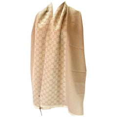 Gucci Echarpe Jacquard 100% Wool GG Beige with Fringes / Absoluty Brand New