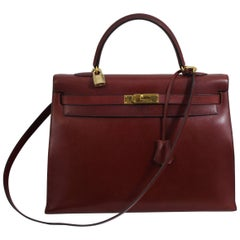 1993 Vintage Red Hermes Kelly 35 Sellier with Shoulder Strap