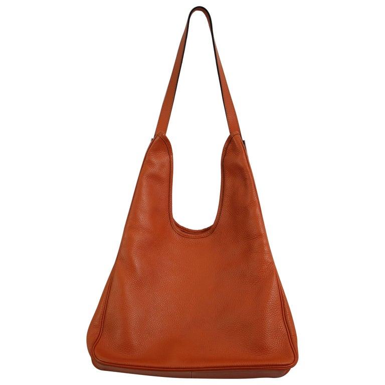 Hermes Orange Leather Massai MM Bag