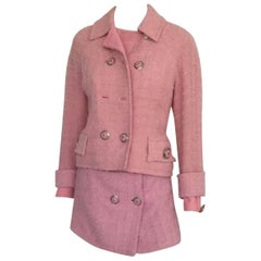 1990s Gianni Versace Couture Pink Bouclé Wool Suit Tailleur