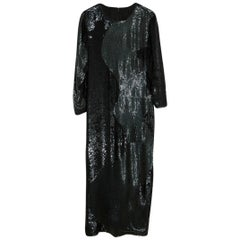 Sequins and Jais Mermaid Shape Italian Black Evening Gown