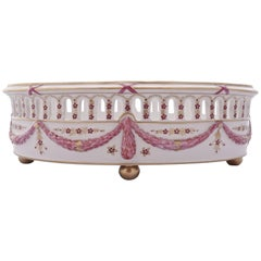 Delvaux R. Royale Paris Hand Painted Pink and Gold Oval Porcelain Basket