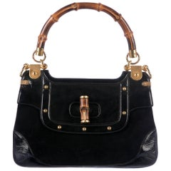 Gucci Black Bamboo Evening Top Handle Satchel Kelly Style Bag