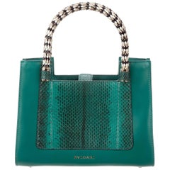 Blvgari NEW Teal Leather Gold Metal Evening Top Handle Kelly Style Satchel Bag