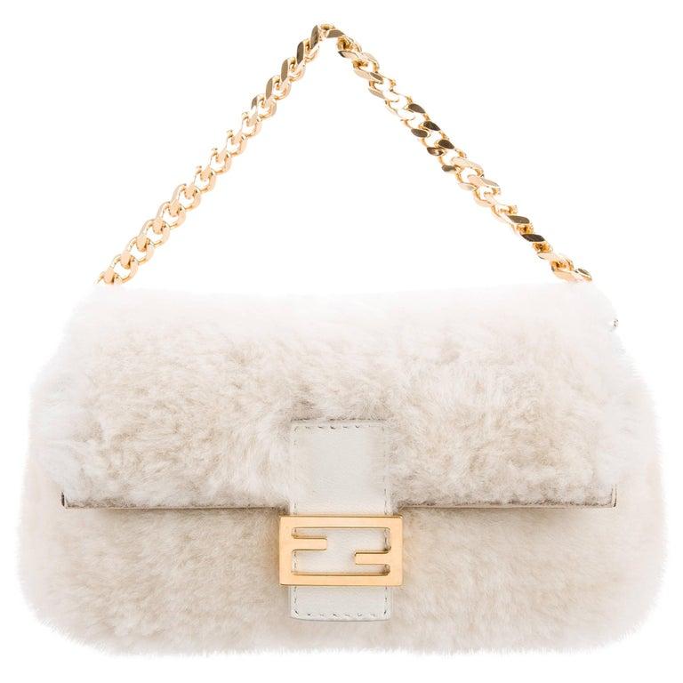 Fendi NEW Winter White Fur Gold 2 in 1 Clutch Evening Handle Chain Flap Bag