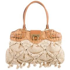 Salvatore Ferragamo NEW Cognac Leather Top Handle Satchel Shoulder Flap Bag