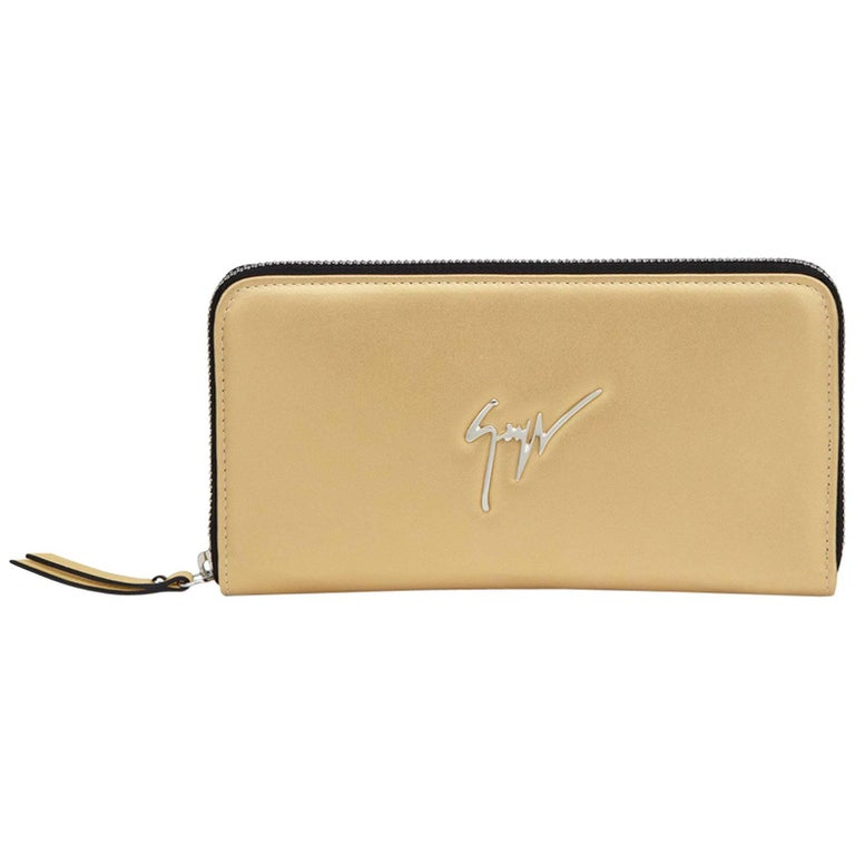 Giuseppe Zanotti NEW Gold Leather Metal Logo Top Zip Clutch Wallet in Box