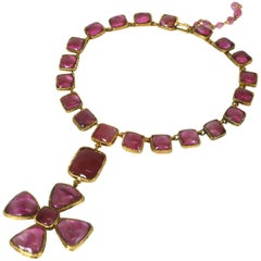 Chanel Byzantine Maltese Cross Ruby Necklace