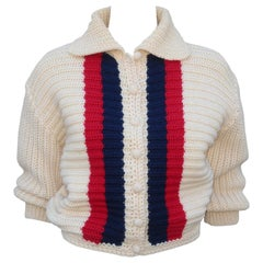 1950s Red, White & Blue 'Bulkies' Cropped Wool Cardigan Sweater