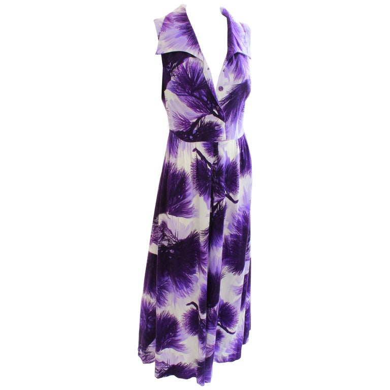 543a61acf29 70s Hilo Hattie Jumpsuit Palazzo Wide Leg Purple White Floral Print Size 16  For Sale