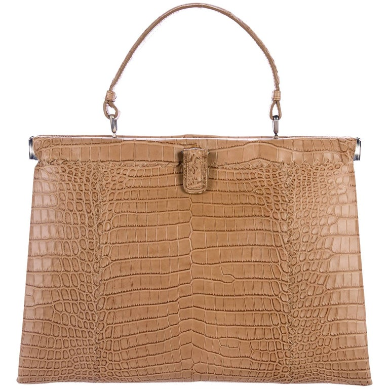 Bottega Veneta NEW Crocodile Exotic Leather Top Handle Satchel Kelly Style Bag