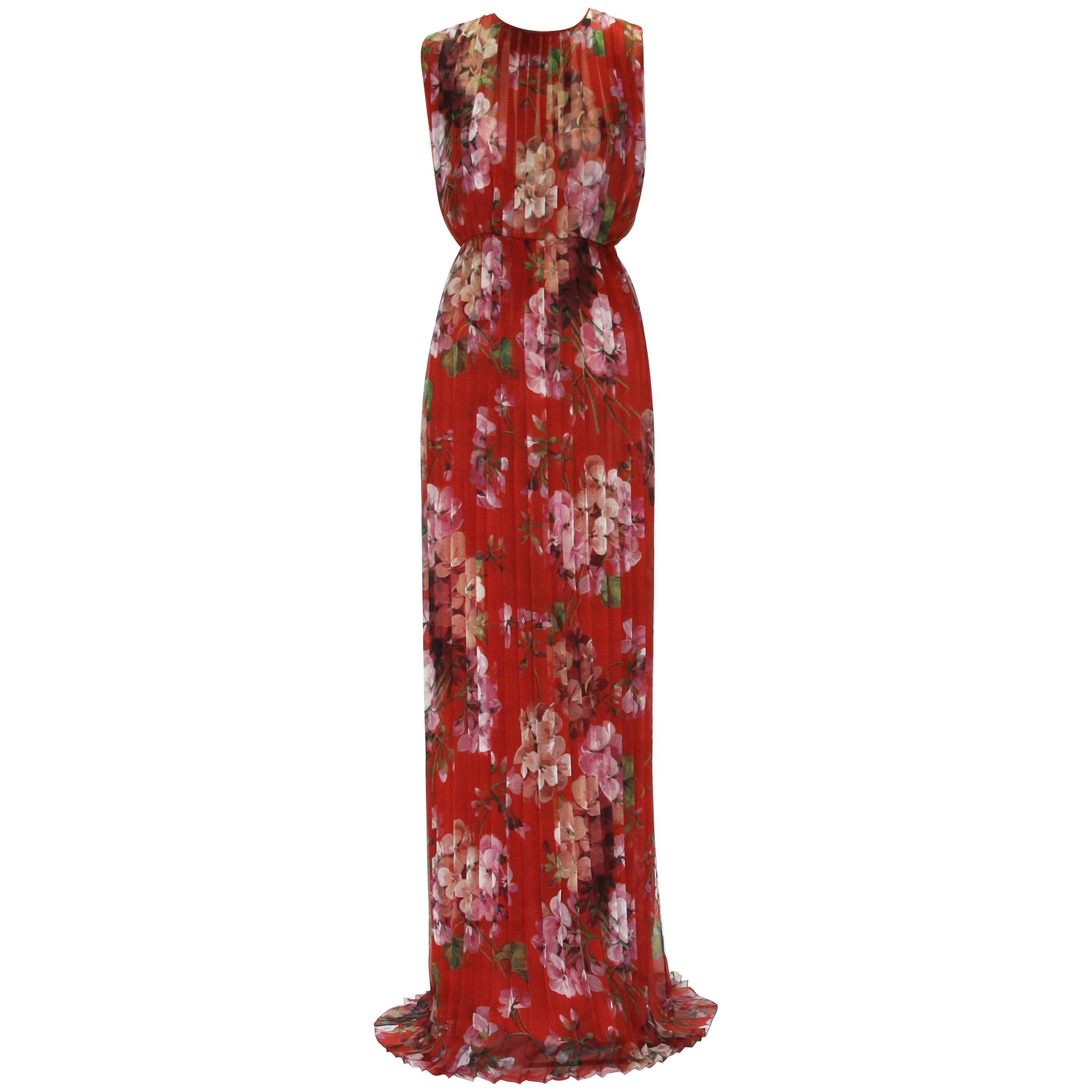 New Gucci Geranium Print Silk Plisse Long Dress Gown It. 40