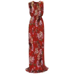 New Gucci Geranium Print Silk Plisse Long Dress Gown It. 40
