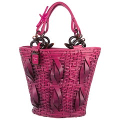 Christian Dior NEW Fuchsia Basket Weave Leather Top Handle Satchel Hand Bag