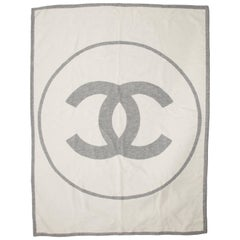 Chanel Gray Ivory Cashmere Home Couch Chair Wool Logo Throw Blanket