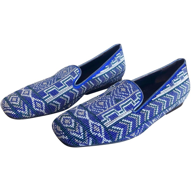 Brand New 1990s Donald J Pliner Size 7 Fully Beaded Blue Smoking Loafers Shoes