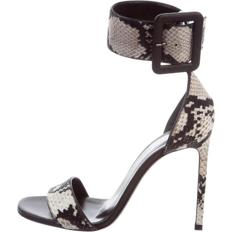 Givenchy NEW Black White Snakeskin Leather Gladiator Ankle Sandals Heels in Box