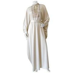 1970s Dramatic Sleeve Cream Beaded Caftan Dress