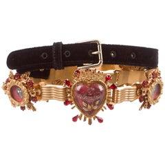 Dolce & Gabbana New Black Velvet Crystal Evening Waist Belt in Box