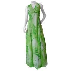 1970s Shannon Rodgers Green Chiffon Maxi Dress