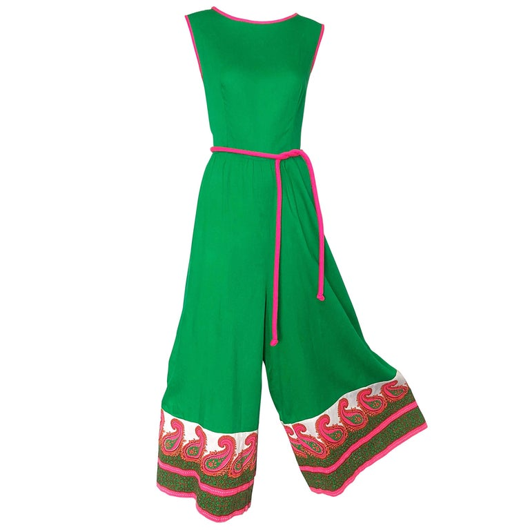3cab6e01f7 Alfred Shaheen 1960s Large Size Kelly Green + Pink Vintage 60s Palazzo  Jumpsuit For Sale
