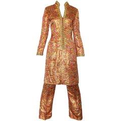 Incredible 1970s Neusteters Mosaic Print Tunic Dress + Flared Leg Pants Ensemble