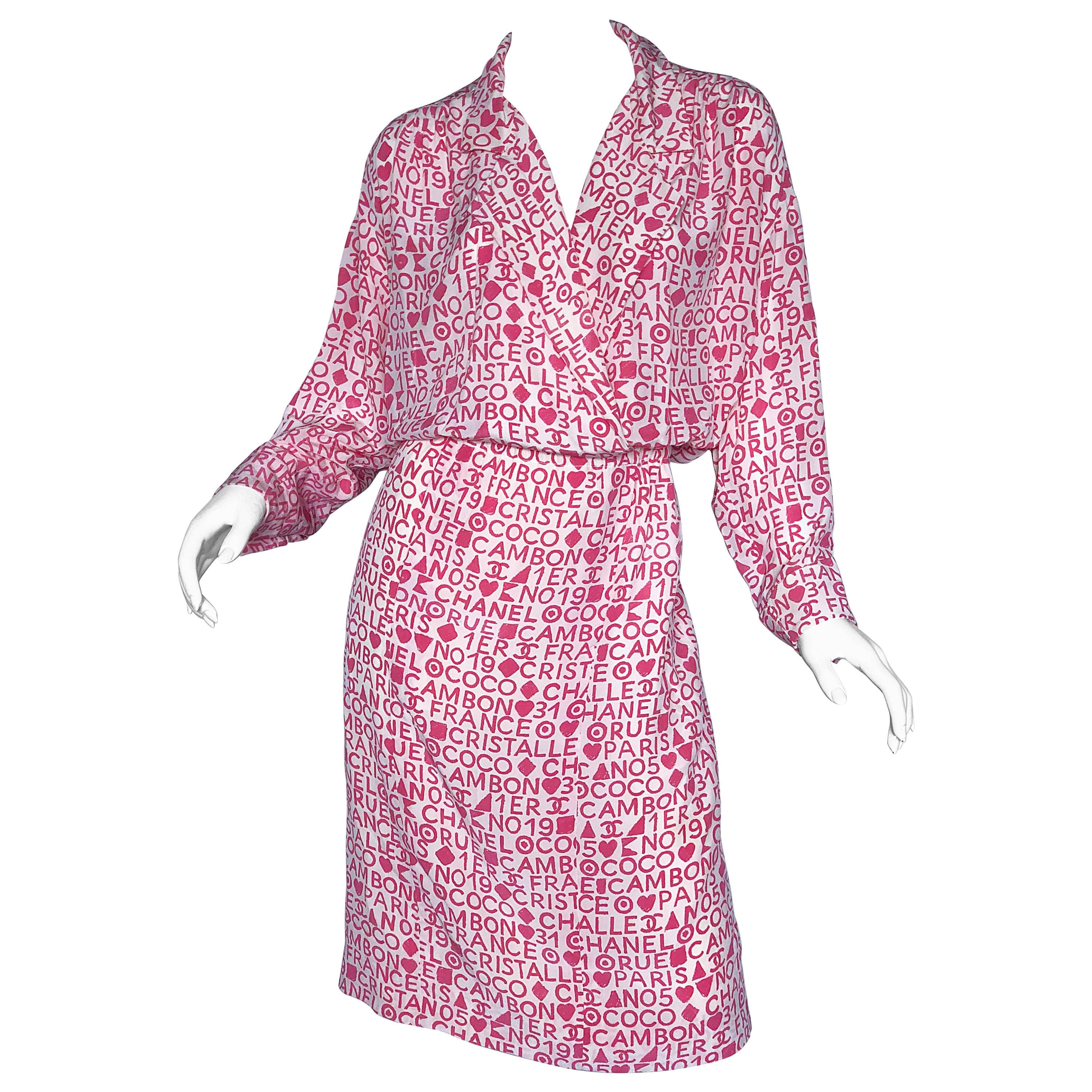 Vintage Chanel Karl Lagerfeld Large Size 44 Pink 90s Logo Silk 1990s Shirt Dress