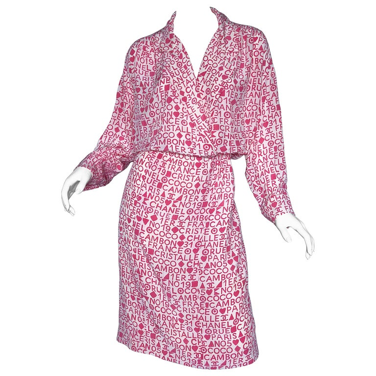 0d3e7ccc5f Vintage Chanel Karl Lagerfeld Large Size 44 Pink 90s Logo Silk 1990s Shirt  Dress For Sale