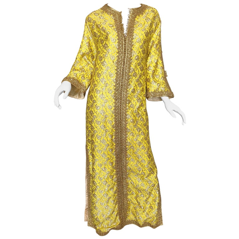 Amazing 1960s Moroccan Couture Silk Brocade Yellow + Gold Caftan 60s Maxi Dress