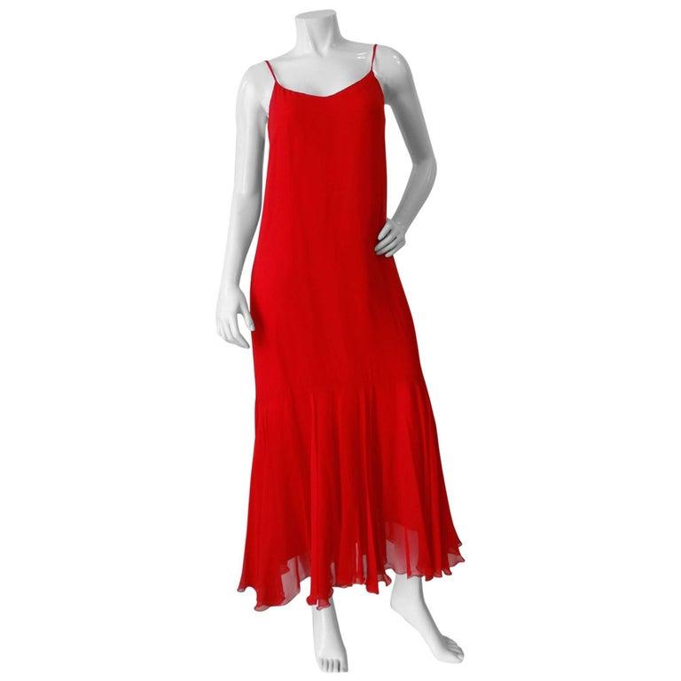 1980s Lillie Ruben Red Chiffon Slip Dress