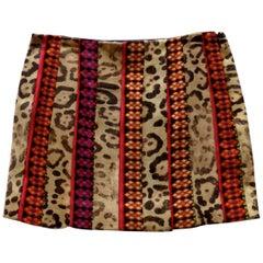 2000s John Galliano Leopard Embroidered Super Mini Skirt