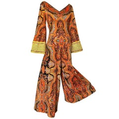 1970s Jay Morley Vintage Paisley Velour Sequin Bell Sleeve 70s Palazzo Jumpsuit