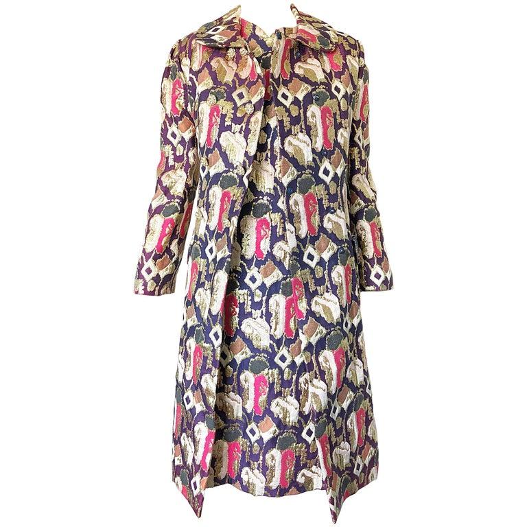 1960s Oscar de la Renta Silk Brocade A - Line 60s Vintage Dress and Jacket For Sale