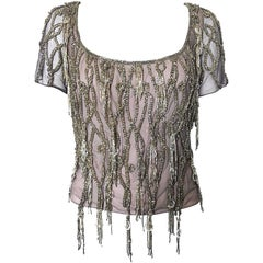 1990s Badgley Mischka Couture Size 8 Lilac Grey Beaded Fringe Crystal 90s Top